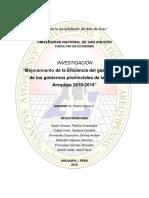 Eficiencia Del Gasto Público de Los Gobiernos Provinciales de Arequipa