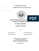 Analisis Kualitas Pelayanan Terhadap Kepuasan Pelanggan Pada PT Bank Sinar Mas Cabang Gorontalo