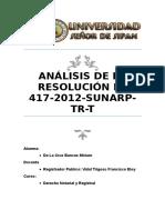 Análisis de La Resolución Nº 417