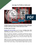 Prediksi Bola Ajax Vs PAOK 27 Juli 2016