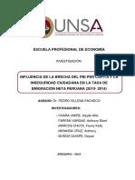 INFLUENCIA DE LA BRECHA DEL PBI PER CÁPITA Y LA INSEGURIDAD CIUDADANA EN LA TASA DE EMIGRACIÓN NETA PERUANA (2010- 2014)