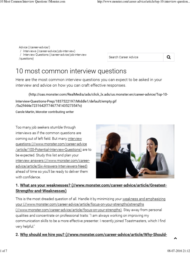 10 most common interview