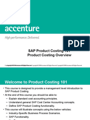 SAP Product Costing 101 - Product Costing Overview | Cost