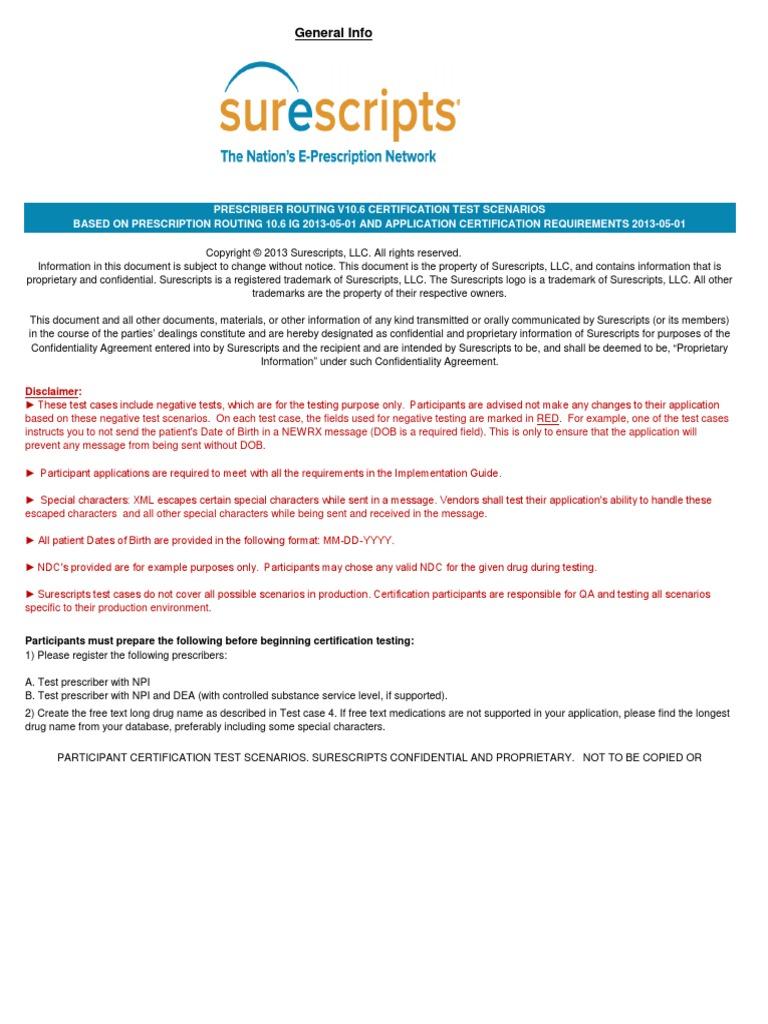 Prescriber rxchange v106 20130501 certification test scenarios prescriber rxchange v106 20130501 certification test scenarios 2013 v 10 pharmaceutical drug pharmacy xflitez Gallery