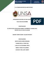 El efecto de la educación sobre el desempleo juvenil en A.S.A. Arequipa