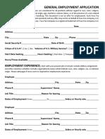 General Fava Employment Application