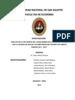 Análisis de La Influencia Del Canon Minero en La Inversión Pública y en La Calidad de Vida de Los Habitantes Del Distrito de Tiabaya Periodo 2011 - 2015