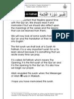 Grade 1 Islamic Studies - Worksheet 7.1 - Tafseer Surah Al-Fatihah [Part 1]