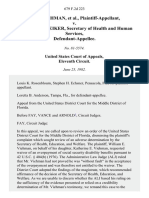 W. E. Viehman v. Richard Schweiker, Secretary of Health and Human Services, 679 F.2d 223, 11th Cir. (1982)
