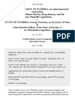 Libertarian Party of Florida, an Unincorporated Association, Alan Turin, William Marina, Doug Ramsay and Ed Clark v. State of Florida, George Firestone, as Secretary of State & Chief Election Officer of the State of Florida, 710 F.2d 790, 11th Cir. (1983)