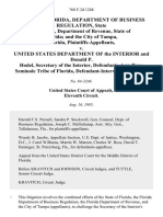 State of Florida, Department of Business Regulation, State of Florida, Department of Revenue, State of Florida and the City of Tampa, Florida v. United States Department of the Interior and Donald P. Hodel, Secretary of the Interior, Seminole Tribe of Florida, Defendant-Intervenor-Appellee, 768 F.2d 1248, 11th Cir. (1985)