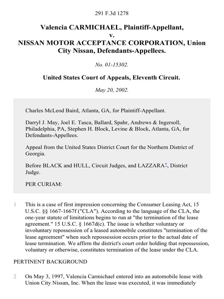 valencia carmichael v. nissan motor acceptance, 291 f.3d 1278, 11th