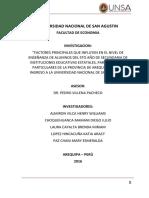 """""""FACTORES PRINCIPALES QUE INFLUYEN EN EL NIVEL DE ENSEÑANZA DE ALUMNOS DEL 5TO AÑO DE SECUNDARIA DE INSTITUCIONES EDUCATIVAS ESTATALES, PARROQUIALES Y PARTICULARES DE LA PROVINCIA DE AREQUIPA PARA EL INGRESO A LA UNIVERSIDAD NACIONAL DE SAN AGUSTIN."""""""