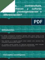 Subcultura, Contracultura, Tribus Urbanas y Culturas
