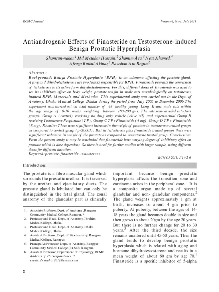 Antiandrogenic Effects Of Finasteride On Testosterone Induced Benign
