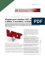 VAT rates on electric scooters, bikes and rickshaws- HP+UK+DEL+RJ+PB+HR