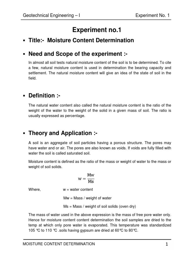 Moisture Content Determination Test | Soil | Porosity