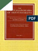 Tattvasangraha of Santaraksita With Kamalasila Com. G Jha Vol I 1937