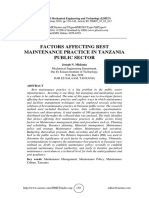 FACTORS AFFECTING BEST MAINTENANCE PRACTICE IN TANZANIA PUBLIC SECTOR