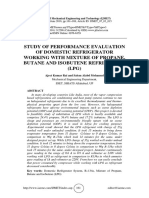 STUDY OF PERFORMANCE EVALUATION OF DOMESTIC REFRIGERATOR WORKING WITH MIXTURE OF PROPANE, BUTANE AND ISOBUTENE REFRIGERANT (LPG)