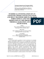 NUMERICAL INVESTIGATION OF AN UNSTEADY MIXED CONVECTIVE MASS AND HEAT TRANSFER MHD FLOW WITH SORET EFFECT AND VISCOUS DISSIPATION IN THE PRESENCE OF THERMAL RADIATION AND HEAT SOURCE/SINK