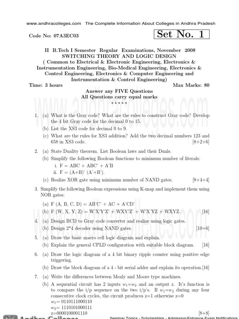 07a3ec03 Switching Theory And Logic Design Boolean Algebra Computing K Map Diagram