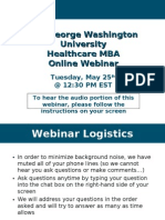 GW Online Healthcare MBA May 25th Webinar