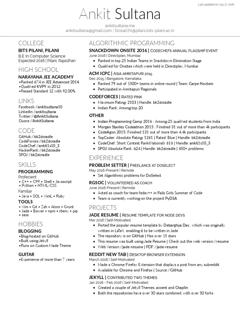 Ankit Sultana Resume | Web Browser | Google Chrome