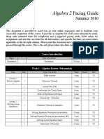 Algebra 2 Pacing Guide 2010