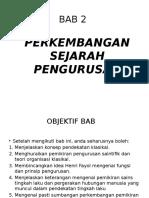 BAB 2 Perkembangan Sejarah Pemgurusan