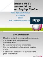 Influence of Tv Commercial on consumer bying behaviour