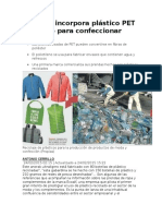 Investigacion Plástico PET Reciclado Para Confeccionar Ropa
