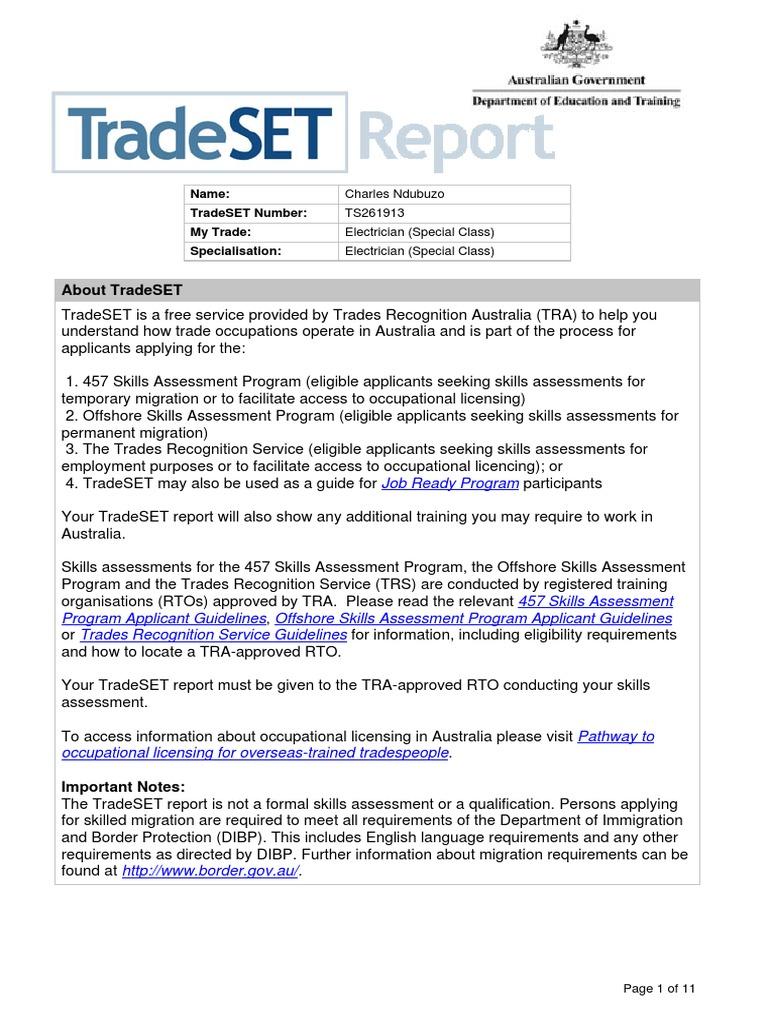 Australian SampleTradeSET Report | Electrical Wiring | Electrician