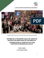 27-07-16 INFORME DEL 8º ENCUENTRO ANUAL DEL GRUPO DE MUJERES PARLAMENTARIAS DE PARLAMERICAS