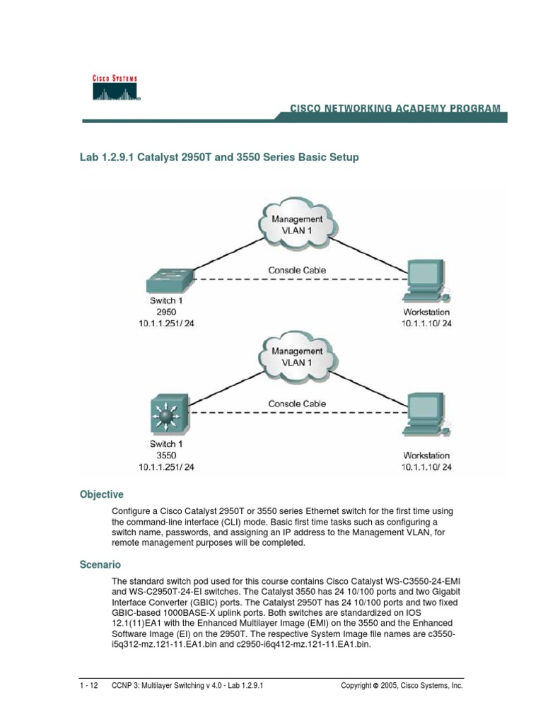 Cisco Console Cable Wiring Diagram 3550 Worksheet And Rollover Images Gallery Ccnp3 Lab 1 2 9 En Command Line Interface Network Switch Rh Scribd Com