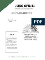 2016, ECU, Ley Organica de Ordenamiento Territorial Uso y Gestion Del Suelo