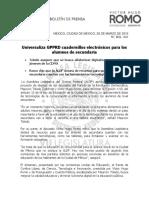 Universaliza GPPRD cuadernillos electrónicos para los alumnos de secundaria