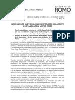 IMPULSA FORO NUEVO SOL UNA CONSTITUCIÓN INCLUYENTE Y DE VANGUARDIA