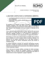 LLAMA ROMO A DESPOLITIZAR LA CONTINGENCIA AMBIENTAL