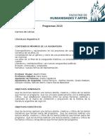 Programa Literatura Argentina 2 2015