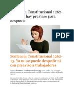 Sentencia Constitucional 1262-13 DESPIDO PREAVISO
