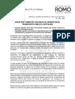 EXIGE PRD COMBATIR VIOLENCIA DE GÉNERO EN EL TRANSPORTE PÚBLICO CAPITALINO
