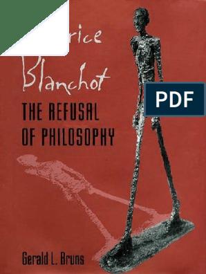 Gerald L Bruns Maurice Blanchot The Refusal Of Philosophy