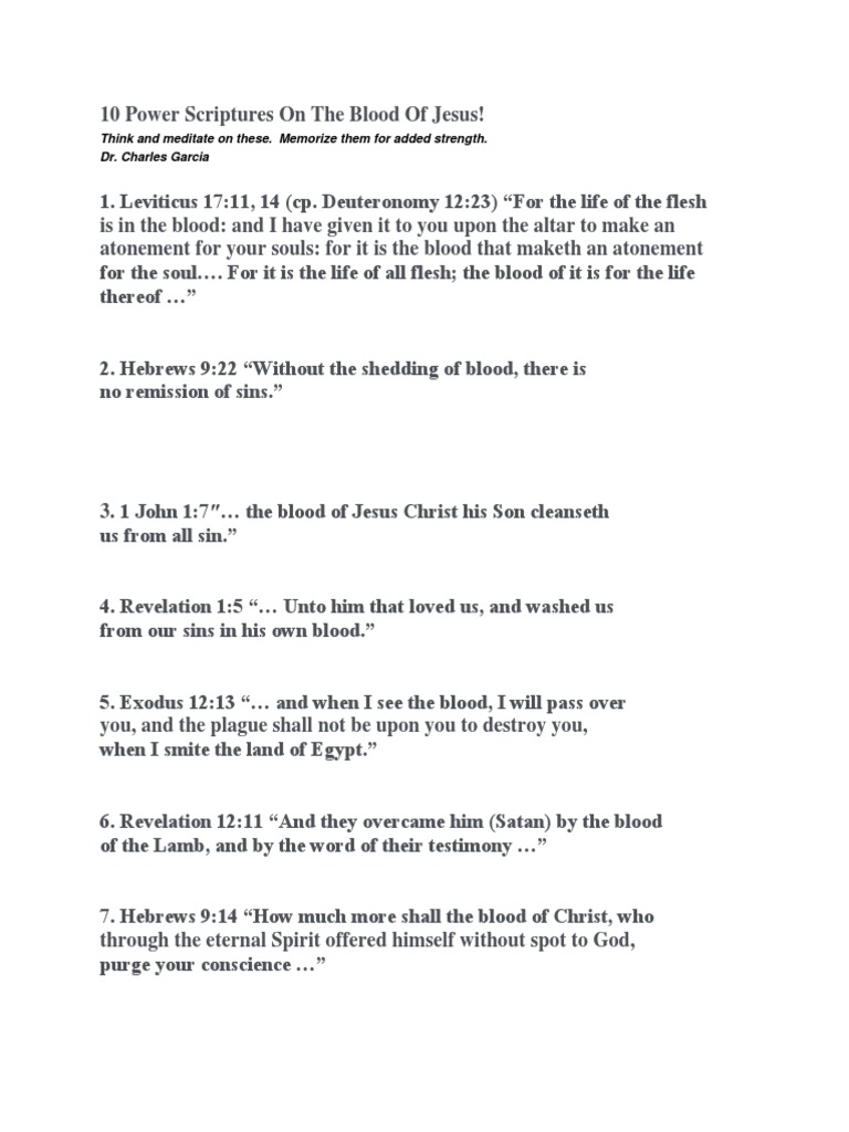 10 Power Scriptures on the Blood of Jesus