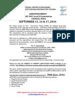 ASNT L2 Announcement Sep 2016