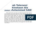 Toleransi Kebhinekaan Ala Nabi Muhammad SAW