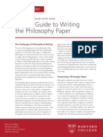 A Brief Guide to Writing the Philosophy Paper