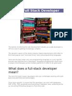Being a Full Stack Developer