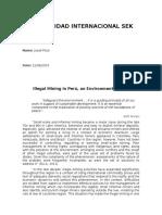 Illegal Mining in Perú, An Environmental Issue