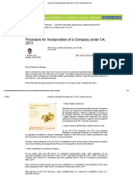Procedure for Incorporation of a Company under CA, 2013 - Corporate Law Articles.pdf